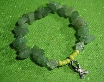 Item #9, Green Aventurine, Bracelet, Crystal, Lyme Disease, Lyme Awareness Jewelry, Arrow