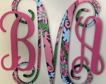 Lilly Pulitzer Inspired Wooden Monogram ANY PRINT