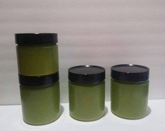 Vintage Fire King Green Milk Glass Canister set - 4 pieces