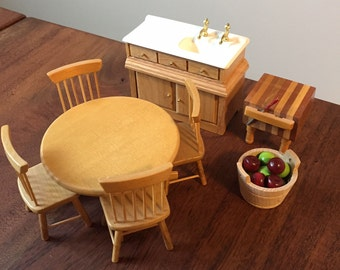 Dollhouse Furniture 1:12 scale, Oak Kitchen Set, 8 pieces total including table, chairs, sink, butcher's block