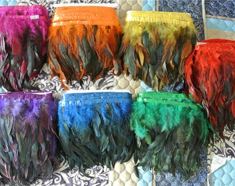 rooster hackle feather fringe trim 10 yards of black red orange royal blue turquoise hot pink light pink yellow green color