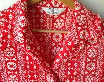 Vintage plus size red floral oxford shirt