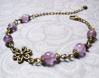 Amethyst Bracelet-Vintage Bracelet-Beaded Bracelet-Gemstone Bracelet-Purple Bracelet-Romantic Bracelet-Third Eye Chakra Bracelet