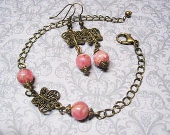 Rhodochrosite Jewelry Set Rhodochrosite Bracelet Vintage Jewelry Gemstone Jewelry Romantic Jewelry Rhodochrosite Earrings Women Gift