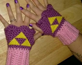 Handmade Crocheted Nintendo Legend of Zelda Princess Zelda Triforce Gloves Wristlets
