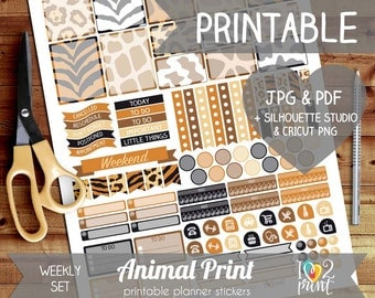 Animal Print Printable Planner Stickers, Erin Condren Planner Stickers, Weekly Planner Stickers, Animal Pattern Stickers, SILHOUETTE/ CRICUT