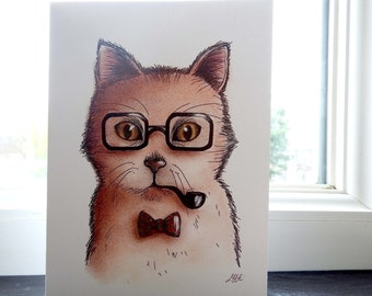 Card Father cat / Illustration / Cat family cardcollection / Funny cat portrait / Blank A6 card