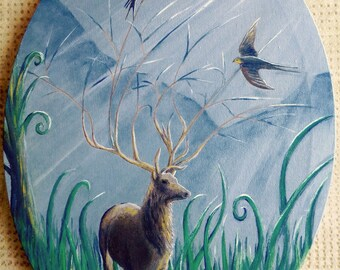 Deer, swallow, symbol freedom, acrylic on canvas, 30 x 40
