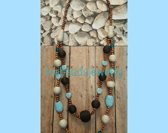 Rustic Necklace brown, blue, white