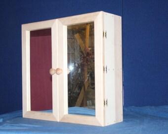 Handcrafted solid beech bathroom cabinet.