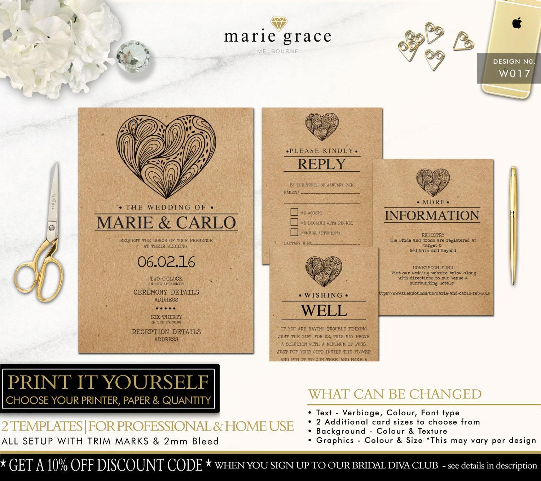 Kraft Look Wedding Invitation Printable Template Rustic