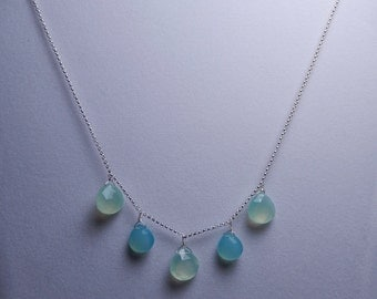 Blue and Green Chalcedony Necklace