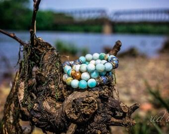 Amazonite Bracelets...Gypsy, Bohemian, Amazonite, Czech glass beads, Elastic, Bracelets
