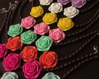 flower necklace - chunky necklace - bubblegum necklace - wedding - flower girl - boutique necklace - La rosas necklace