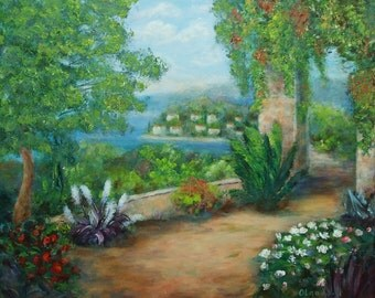 Woman gift for mom Original landscape art decorative painting nature painting Village art canvas wall Tree art Mediterranean Sea art decor