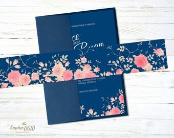 Printable Belly Band for navy blue floral wedding invitation set, Instant download