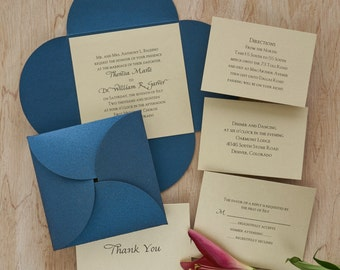 Square Blossom Invitation Set - Thermography Wedding Invite - Classic Wedding Invite - Wedding Invite Suite - AG3