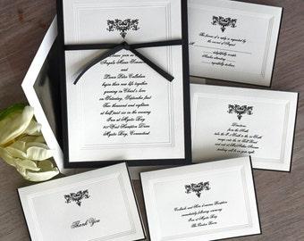 Renaissance Wedding Invitation Set - Beveled Border Invitations - Hand Bordered Invitations - Elegant Wedding - AV1311