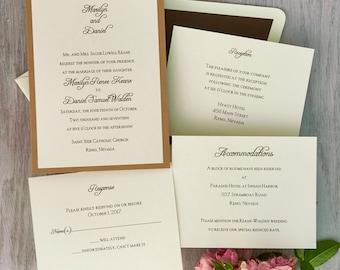 Abbey Wedding Invitation Suite- Thermography Invitation Set - Classic Invite Kit - AV6036