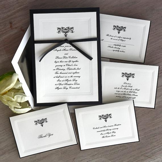 Medieval Wedding Invitations: Renaissance Wedding Invitation Set Triple Bevel Borderblack