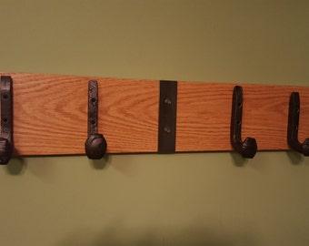 coat rack, railroad, rail road, spike,  rack, coat storage, rustic rack, hanger, rack, home decor,