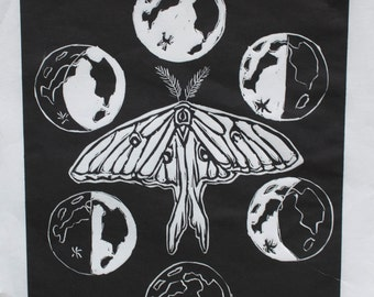 Luna moth - original linocut print