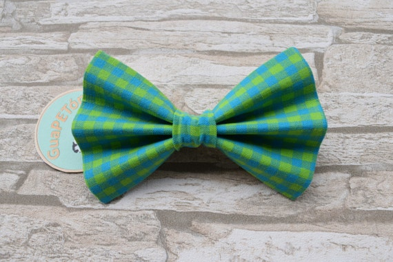 """Bow Tie Bowtie """"Green Blue Chequered"""" for dogs, cats or other pets"""
