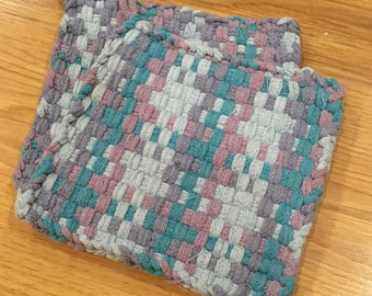 """Pot Holder, Hot Pad, Loom Woven, """"Lavender"""" set of two"""