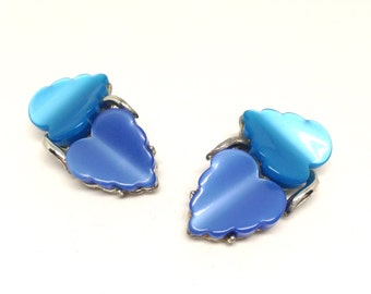 Stunning Vintage Coro Thermoset Blue Double Leaf Clip On Earrings