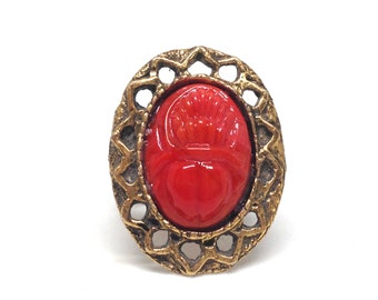 Gorgeous Vintage Ring Size 6.5 Carved Genuine Coral Scarab Beetle Egyptian Revival