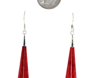 Hand Craftwd Sterling Silver Red Coral Drop Earrings