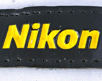 Leather Nikon Patch, Pre-holed for Stitching