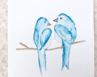 Love birds watercolor, Watercolor wall decor, bird art
