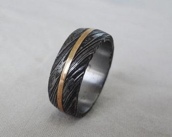 Handmade Damascus steel finger Ring Band Brass Line custom made purpose