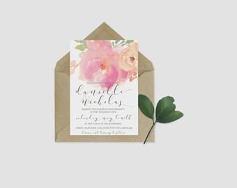 Floral Script Wedding Invitation Printable
