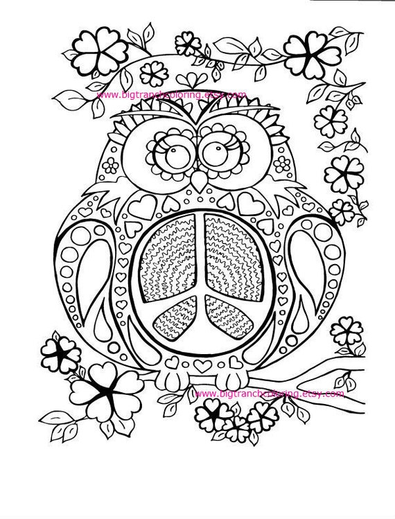 hippie coloring pages free - adult coloring page colouring peace owl hippie coloring