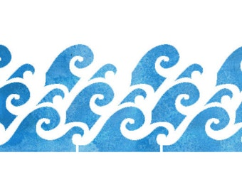 Waves Border Design Stencil