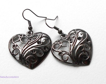 Earrings gunmetal * Black Heart * Earrings
