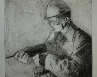Drypoint etching 'Man with drill '