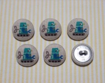 6 Mint Robot Fabric Covered Buttons - 20mm (Metal Shanks, Metal Flatbacks)