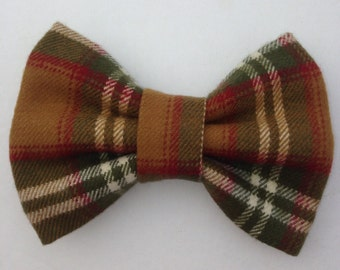 Plaid Hairbow-Gold, Olive, Ivory Plaid Hairbow-Hairbow-Rockabilly
