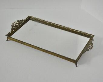 Vintage Brass Victorian Mirrored Dresser Tray        A20