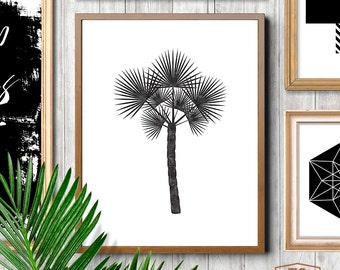 Black And White Tropical Print Tropical Home Decor Tropical Decor Tropical Wall Art