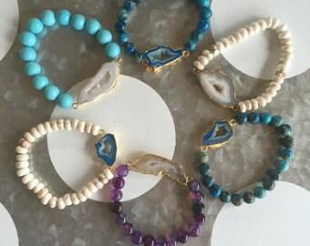 Beaded Agate Bracelets