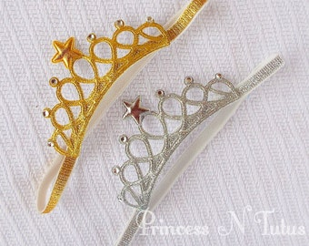 Glitter Crown Headband for babies and children, glitter crown headband, gold crown,  silver crown