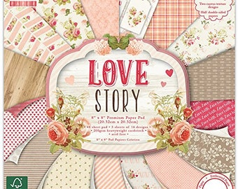 Trimcraft First Edition Premium Paper Pad 8-inch x 8-inch, Love Story