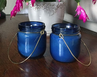 Pure Beeswax Candle Hanging Candle Blue Glass Jar Candle in a Jar Reusable for Votives
