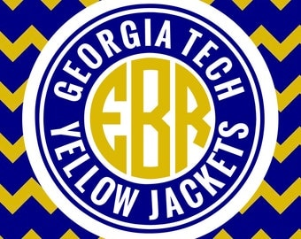 Georgia Tech Yellow Jackets Monogram Frame Cutting Files in Svg, Eps, Dxf, Png for Cricut & Silhouette | Georgia Tech Vector