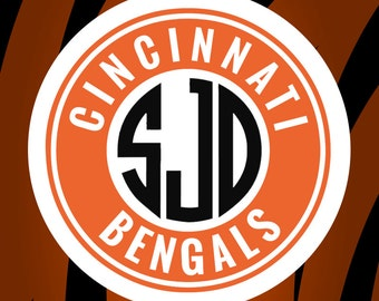 Cincinnati Bengals Monogram Frame Cutting Files in Svg, Eps, Dxf, Png for Cricut & Silhouette | NFL Cincinnati Vector | Go Bengals Graphics