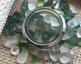 Custom Made Floating Memory Locket Necklace - Genuine Sea Glass - FREE UK Shipping